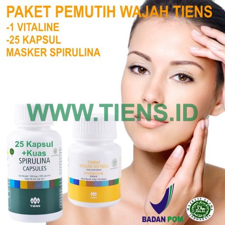 Paket Pemutih Wajah Tiens | Vitaline + Masker Spirulina Tiens